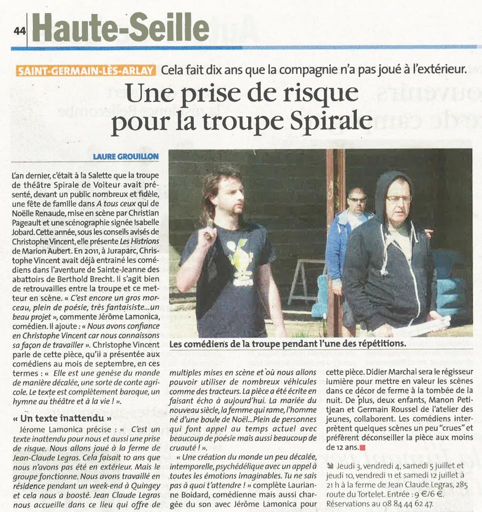 Article la Voix les Histrions 2014